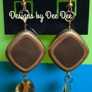 Gold Tone Hook and Metal  Drop Earrings